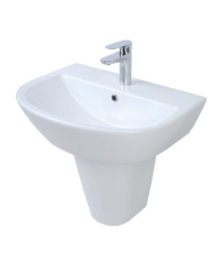 Wall-hung washbasin with fixing screw + half pedestal CR3000+CR3050
