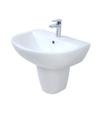 Washbasin with fixing screw+Half-pedestal BR3000+BR3050