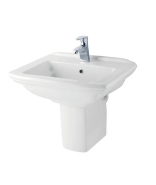 Washbasin with fixing screw+Half-pedestal OR3000+OR3050