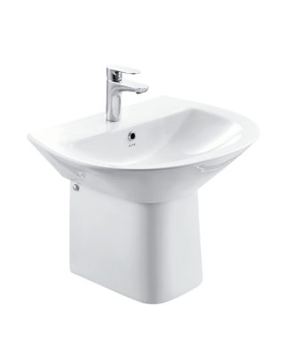 Washbasin with fixing screw+Half-pedestal NI3000+NI3050