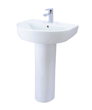 Washbasin with fixing screw+Pedestal RE3000+RE3010
